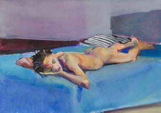Patrick Angus: Reclining Nude Darien, 1989, Gouache auf Papier, 36x51 cm, Sammlung Martine Ehlinger, Luxemburg, (c) Douglas Blair Turnbaugh